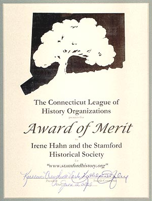 The award certificate