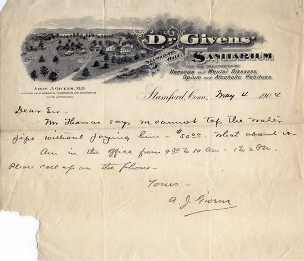 Letter written by Dr. Givens